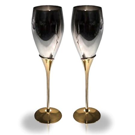 2 Tone Fluted (Elegance 2 Tone Tulip Fluted Goblets, 10.25 in. x 2.25 dia. - Set of)