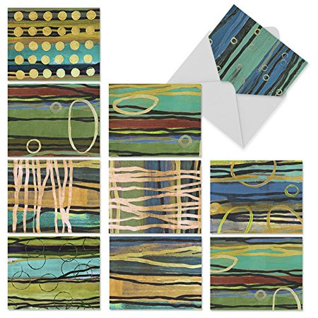'M2024 MELBOURNE STRIPES' 10 Assorted All Occasions Note Cards Feature Abstract Aussie Aboriginal-like Art with Envelopes by The Best Card (Best Shops In Melbourne)