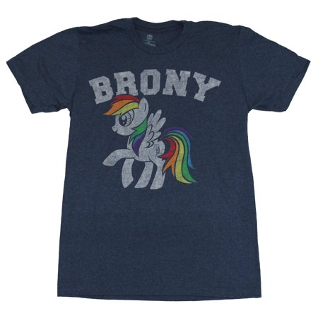 My little Pony Mens T-Shirt - Brony Distressed White Rainbow Dash Under Brony