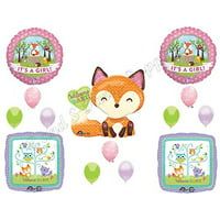 It's A Girl Woodland Friends Baby Shower Balloons Decoration Supplies Fox Chevron