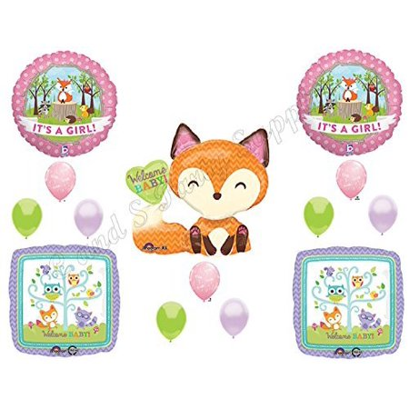 It's A Girl Woodland Friends Baby Shower Balloons Decoration Supplies Fox Chevron](Baby Girl Decorations)