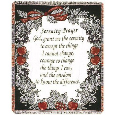 "The Serenity Prayer Religious Afghan Throw Blanket 48"" x 60"""