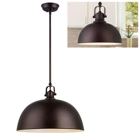 "Kitchen and Bar Large 16"" Pendant Light Fixture Adjustable Height, Oil Rubbed Bronze Metal Shade"