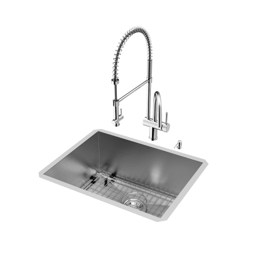 "Vigo All-in-1 23"" Undermount Stainless Steel Kitchen Sink and Chrome Faucet Set"
