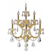 "Maria Theresa Collection 7 Light Gold Finish and Clear Crystal Candle Wall Sconce 22"" W x 29.5"" H Extra Large Three 3 Ti"