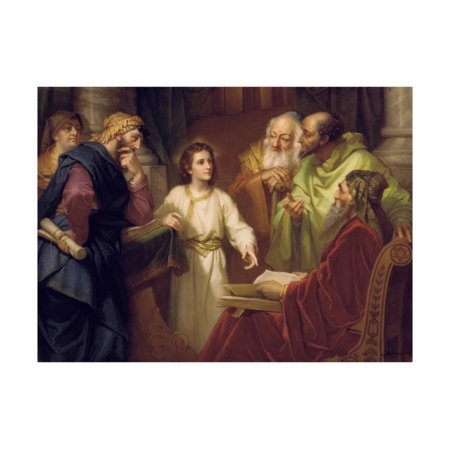 Christ Standing in the Temple Discussing the Scriptures with Five Robed Elders Print Wall - Jesus In Robe