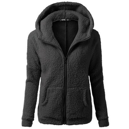 matoen Women Hooded Sweater Coat Winter Warm Wool Zipper Coat Cotton Coat Outwear BKS