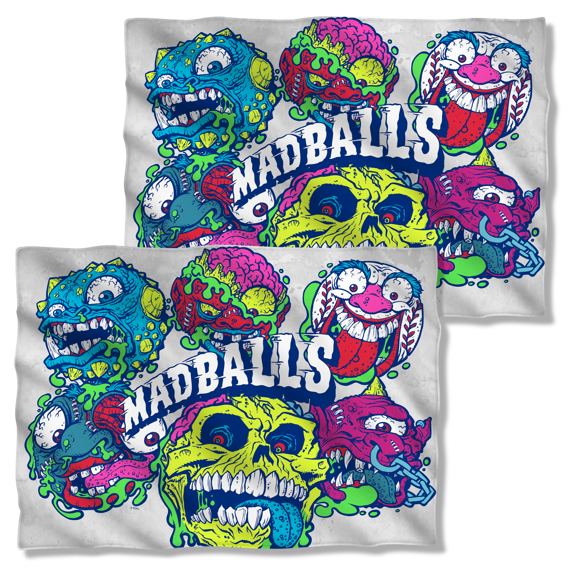 Madballs 1980's Amtoy Rubber Ball Toy Tv Series Squished Front Back Pillow Case