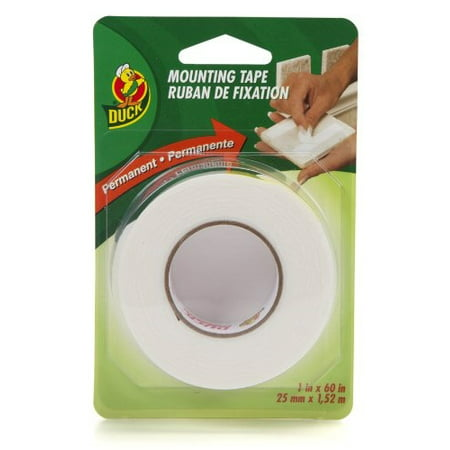 Double Sided Permanent Foam Mounting Tape Duck Brand 1 in x 60 in (Foam Mounting Pads)