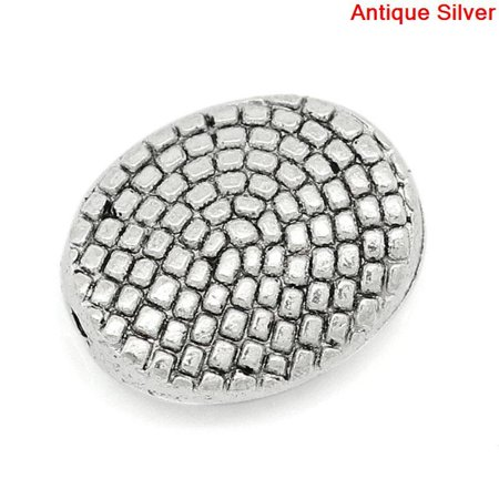 Sexy Sparkles 10 Pcs Silver Tone Dot Pattern Carved Oval Spacer Bead 11x9mm, Hole: Approx 1.3mm