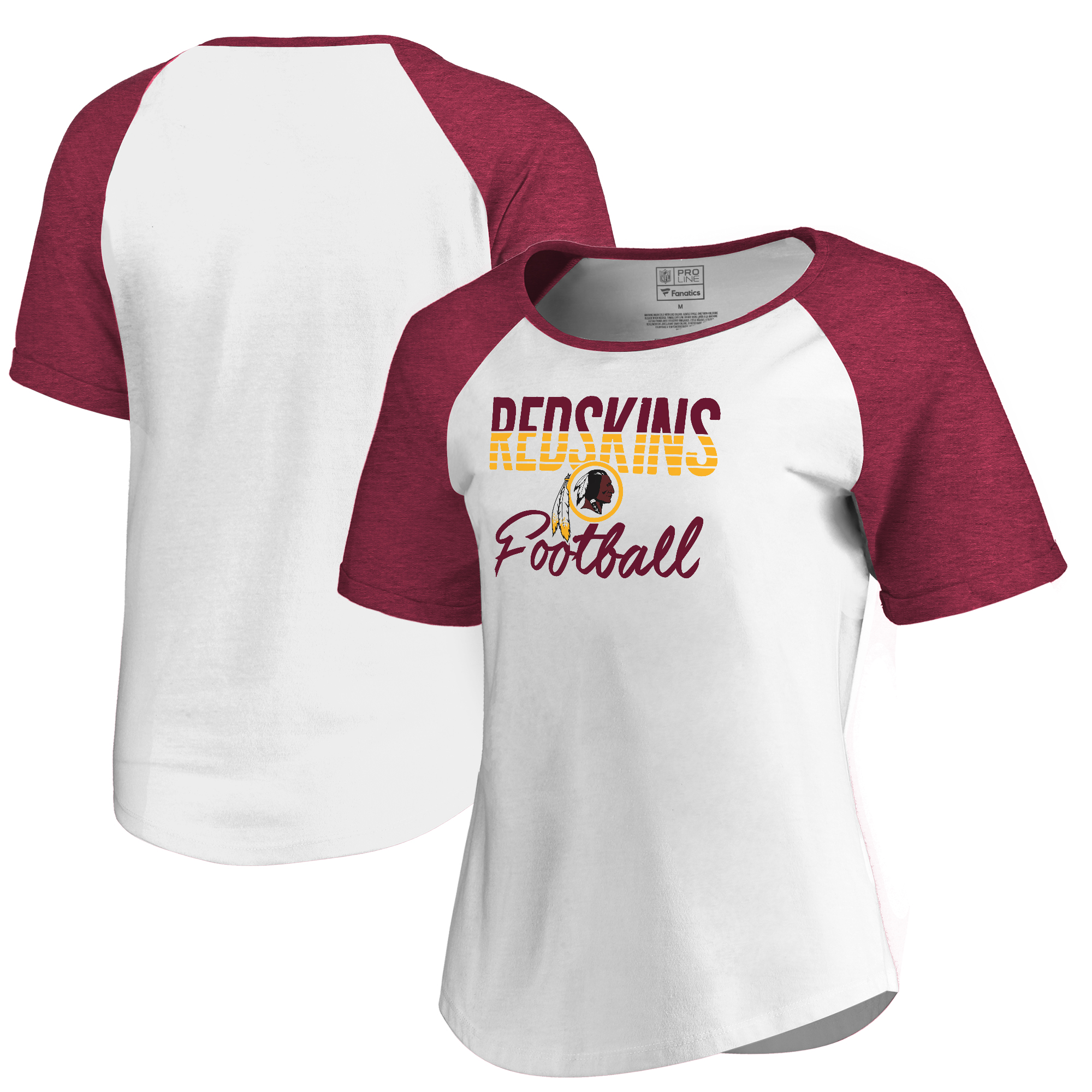 Washington Redskins NFL Pro Line by Fanatics Branded Women's Free Line Raglan Tri-Blend T-Shirt - White
