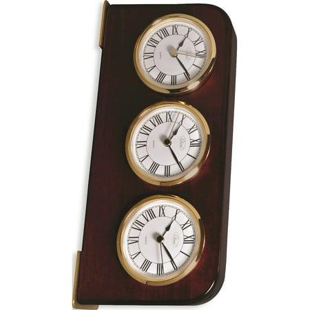 Mahogany Finish Three Time Zone Clock Designer Jewelry by Sweet Pea ()