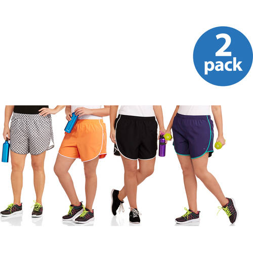 Danskin Now Women's Plus-Size Printed Woven Running Shorts with Liner 2-pack, Value Bundle