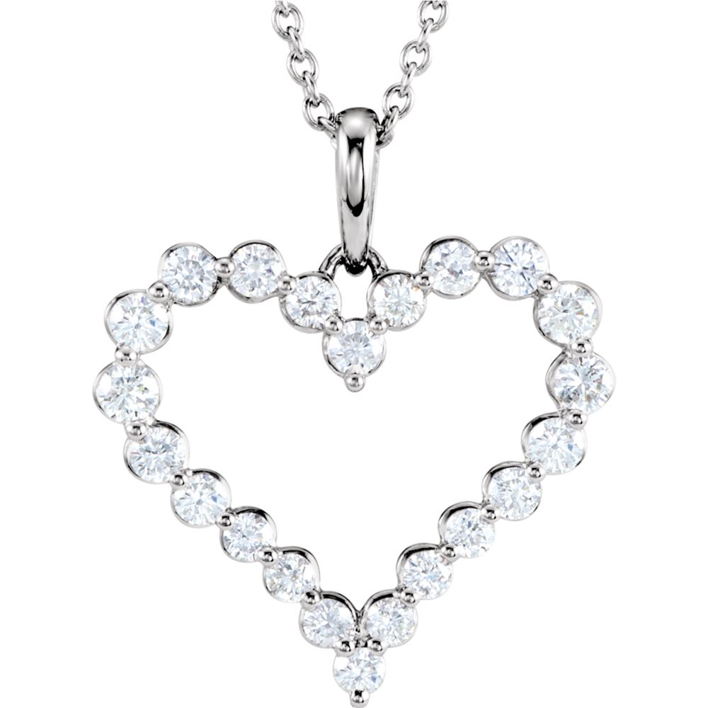 14k White Gold Diamond Heart Necklace 1ct by