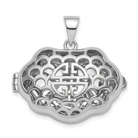 Silver Chinese Symbol Pendant (27mm Sterling Silver Rhodium-plate Chinese Symbol For Wealth Locket Pendant - 7.1 Grams )