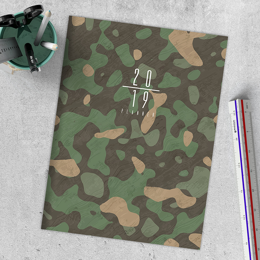 "2019 Green and Beige Camo 7.5"" x 10.25"" January 2019-December 2019 Monthly Planner"