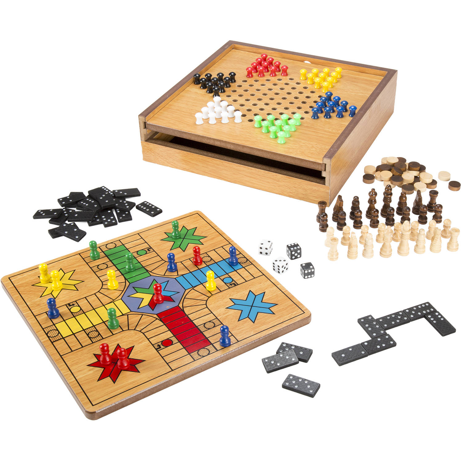 Hey! Play! 7-in-1 Combo Game, Chess, Ludo, Chinese Checkers and More by Trademark Global LLC