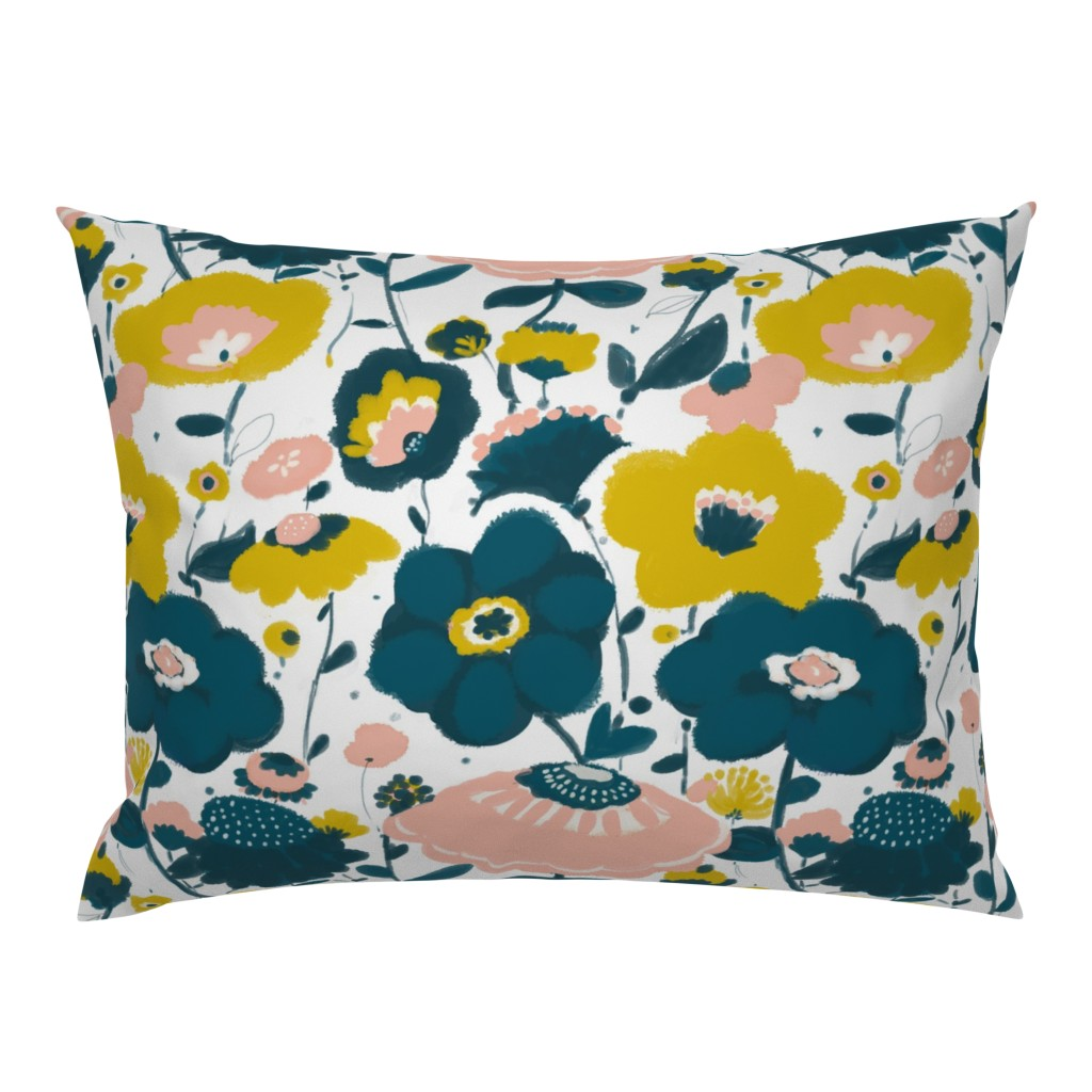 Floral Blush Pink Mustard Yellow Dark Teal Fable Navy Pillow Sham By Roostery Walmart Com Walmart Com