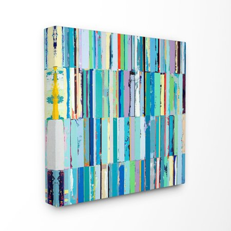 The Stupell Home Decor Collection Abstract Painting Textural Blue Rectangles Stretched Canvas Wall Art, 17 x 1.5 x 17