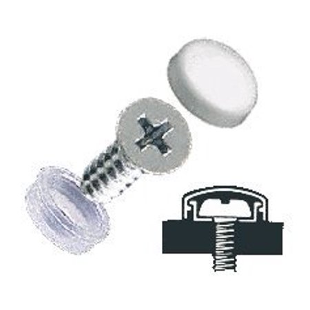 Small Snap - CRL White Flat Small Snap Cap Screw Covers - Package of 100 By C.R. Laurence
