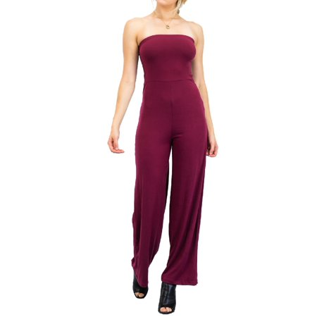 Made by Olivia Women's Casual Tube Top Strapless Stretchable Long Wide Leg Jumpsuit Burgundy S