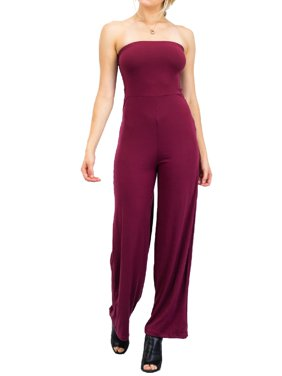 58ead0b89a8 Product Image Made by Olivia Women s Casual Tube Top Strapless Stretchable  Long Wide Leg Jumpsuit Burgundy S