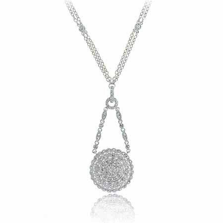 Sterling Silver Simulated Diamond CZ Circle Necklace
