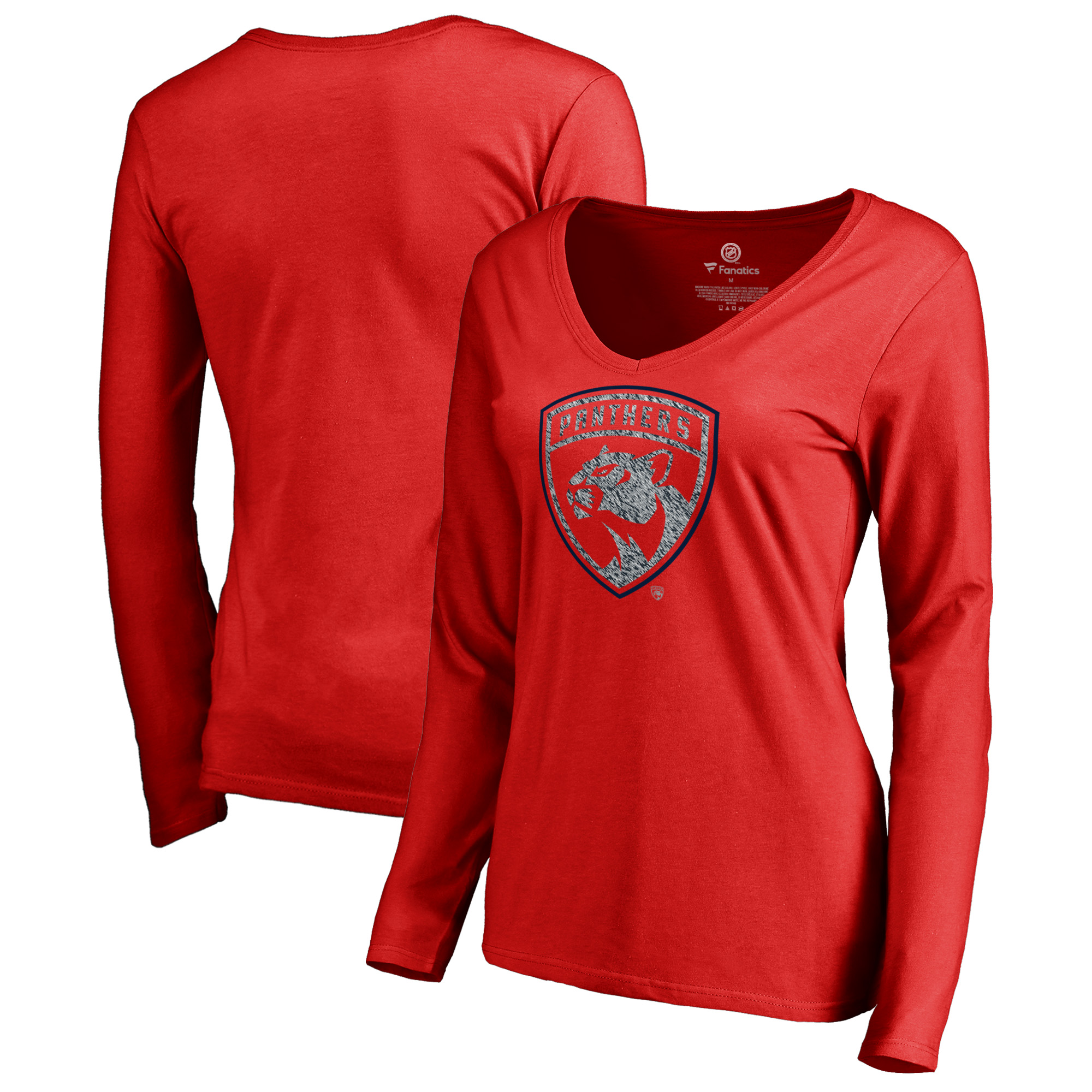 Florida Panthers Fanatics Branded Women's Static Logo Long Sleeve V-Neck T-Shirt - Red