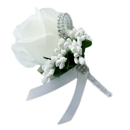Simulation Silk Rose Boutonniere Brooch Pin Wedding Wrist Flower Decorations;Simulation Silk Rose Boutonniere Brooch Pin Wedding Wrist Flower Decor