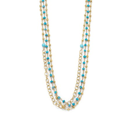 Triple Strand Gold Tone Multistone Necklace Womens Jewelry Gold Plated Silver (Gold Tone Triple Strand)