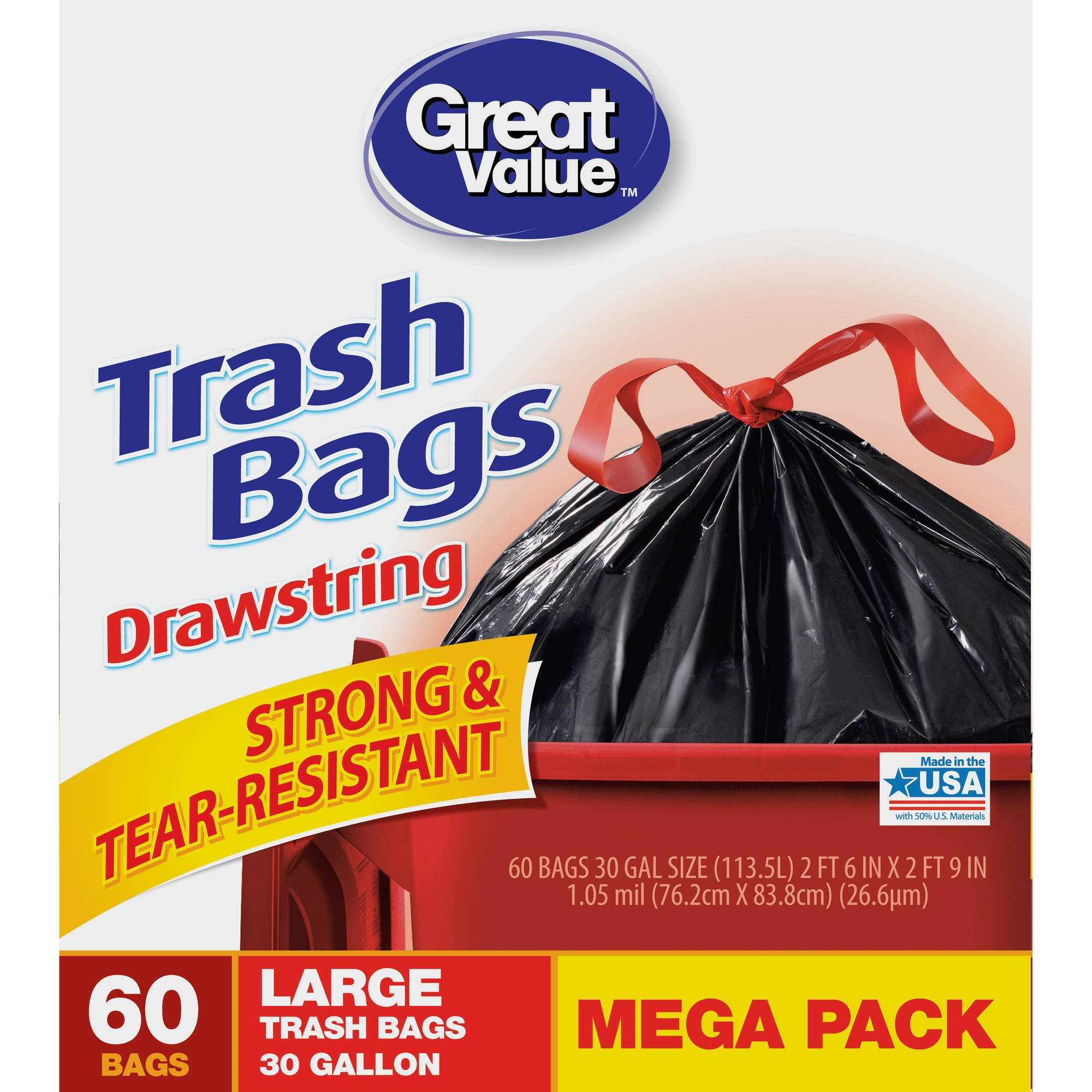 Great Value Large Drawstring Trash Bags, 30 Gallon, 60 Count