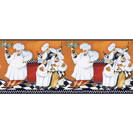 CHEFS PREPASTED WALLPAPER Cooking BORDER Fat Chef - Kitchen Cafe Wall Decor