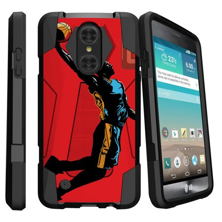 Case for LG Fortune Case | LG Phoenix 3 Case | K4 (2017 Only) Case [Shock Fusion] Dual Layer Case with Built In Kickstand - Red Mamba Dunk