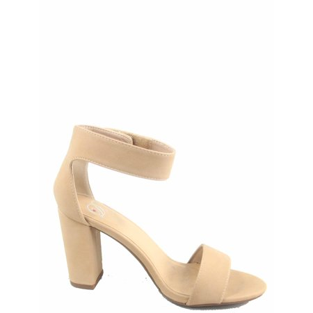 Elton-s Women's Open Toe Ankle Strap Chunky Heels Sandals Shoes ()