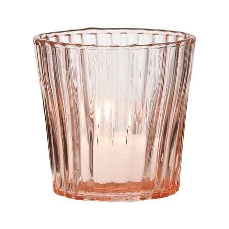Vintage Glass Candle Holder (3-Inch, Caroline Design, Vertical Motif, Vintage Pink) - For Use with Tea Lights - For Home Decor, Parties, and Wedding Decorations
