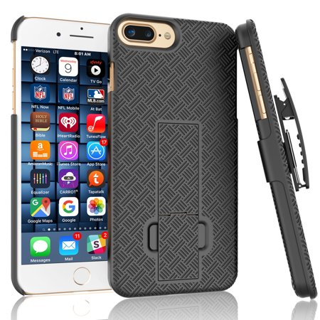 iPhone 7 Plus Case, iPhone 8 Plus Holster Clip, Tekcoo [Tstraw] Shock Absorbing Hard Shell [Built-in Kickstand] Swivel Locking Belt Armor Best Impact Defender Secure Slim Cases Cover