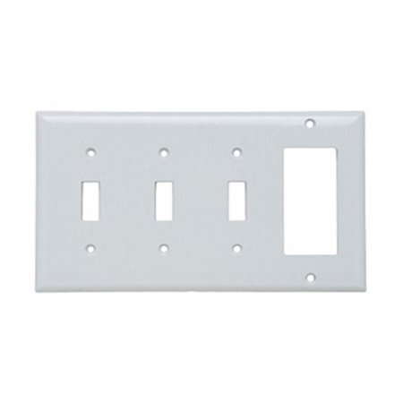 Plastic Housing Toggle Switch - Pass & Seymour SP326-W Thermoset (Plastic) Screw Mount Standard Size 4-Gang Combination Opening Plate (1) Decorator (3) Toggle Switch White