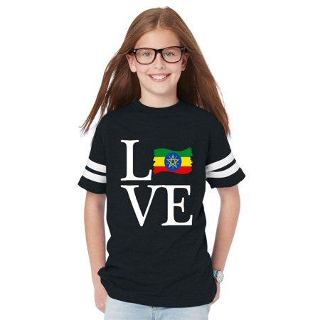 Love Ethiopia Flag Youth Unisex Football Fine Jersey Tee (Ethiopia Football)