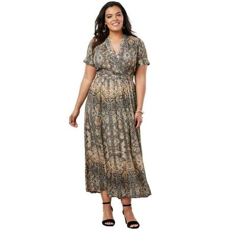 Roaman\'s - Plus Size Wrap Maxi Dress In Crinkle - Walmart.com