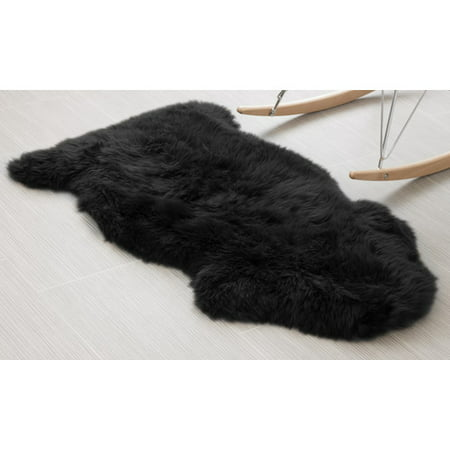 Super Area Rugs Genuine Australian Sheepskin Black Fur Rug Single Pelt 2ft