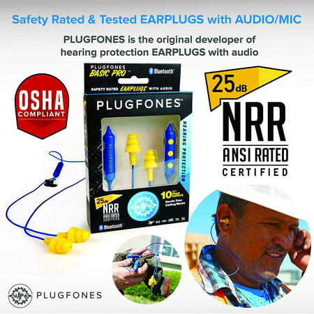 Plugfones Basic Pro Wireless Bluetooth in-Ear Earplug Earbuds - Noise Reduction Headphones with Noise Isolating Mic and Controls (Blue & Yellow) Ear Isolating Headphones