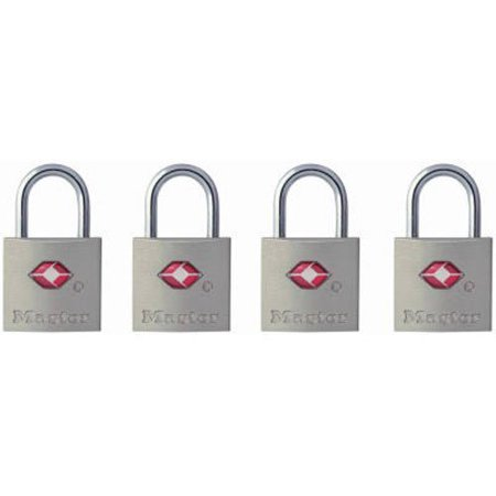 Padlock, Keyed TSA-Accepted Luggage Lock, 7/8 in. Wide, 4683Q (Pack of 4), PADLOCK APPLICATION: For indoor use and travel; small lock is best used for.., By Master
