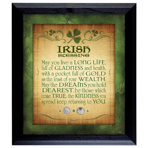 American Coin Treasures Irish Blessing with 2 Three Pence Framed Memorabilia