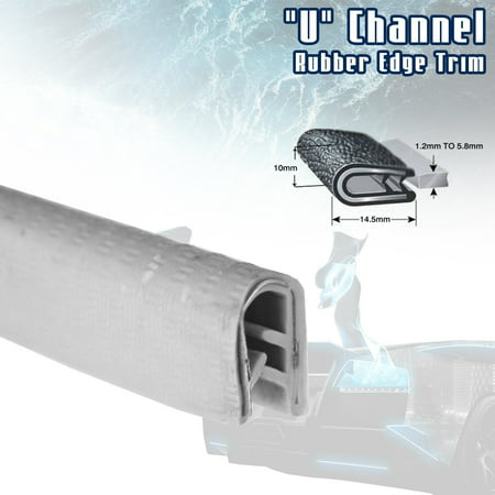 Acrylic Setting Rubber Channel - White Car Edge Trim Seal Interior & Exterior PVC Rubber U Channel DIY Waterproof Weather Shield Anti Dust (10ft)