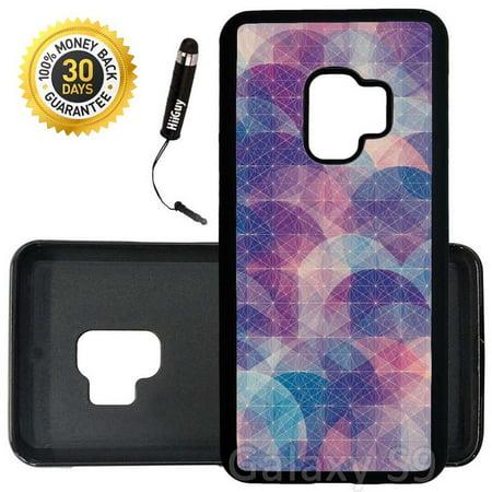 Custom Galaxy S9 Case (Purple Pink Geometric Design) Edge-to-Edge Rubber Black Cover Ultra Slim | Lightweight | Includes Stylus Pen by Innosub