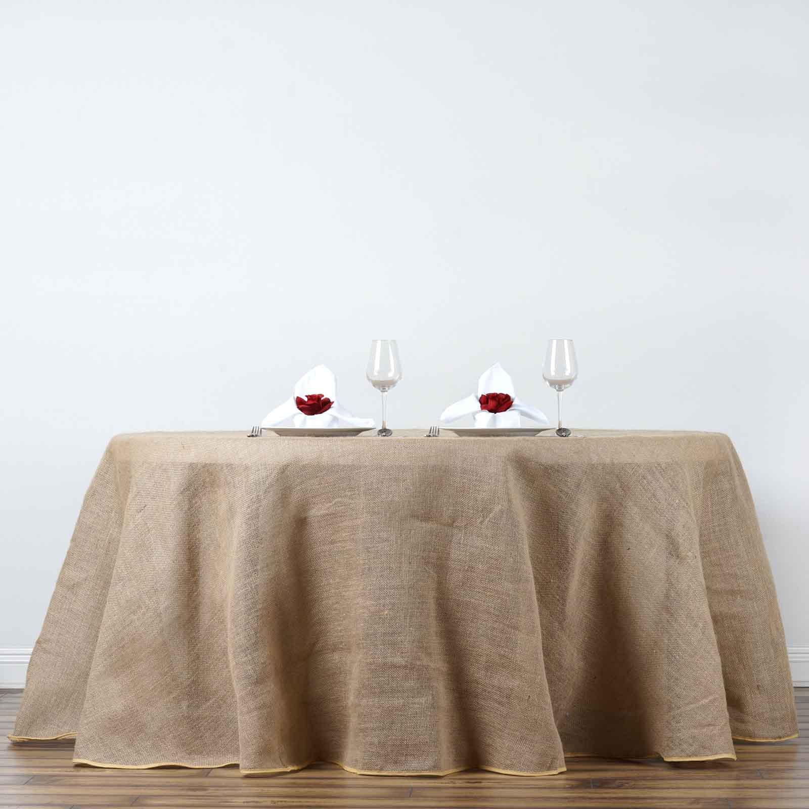 """BalsaCircle 90"""" Burlap Round Tablecloth Natural Brown by BalsaCircle"""