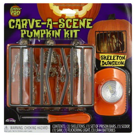 Fun World Carve-A-Scene Skeleton Dungeon 7pc Pumpkin Carving Kit, White Black - Halloween Pumpkin Carvings Stencils