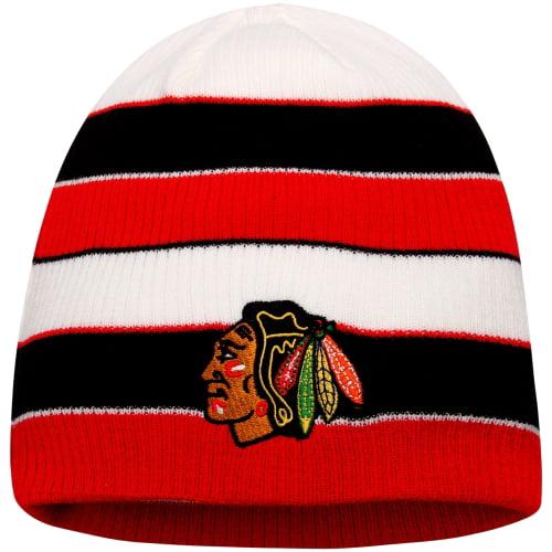 Chicago Blackhawks Reebok Face-Off Stripe Knit Beanie Beanie - Red/Black - OSFA
