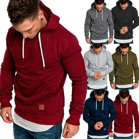 Mens Long Sleeve Hoodies Sweatshirt Hoodie Jacket Pullover Hooded Jumper Tops