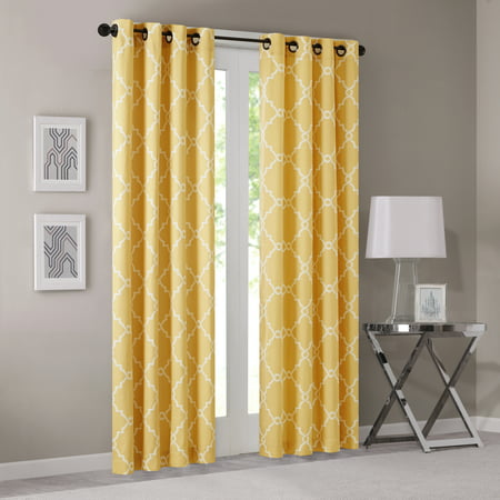 "108""x50"" Sereno Fretwork Print Light Filtering Curtain Panel Yellow"